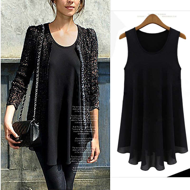 Summer Spring New Black   Tops   Tees Women Small   Tank     Tops   Chiffon Sleeveless Europe Style Clothes   Tanks   Camis Sales Hot Promotions