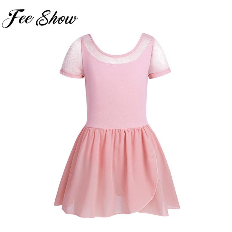 Professional Ballet Leotards Dress For Girls Short Sleeve Cotton Ballet Dancewear Gymnastics Leotard Dresses Children Clothing