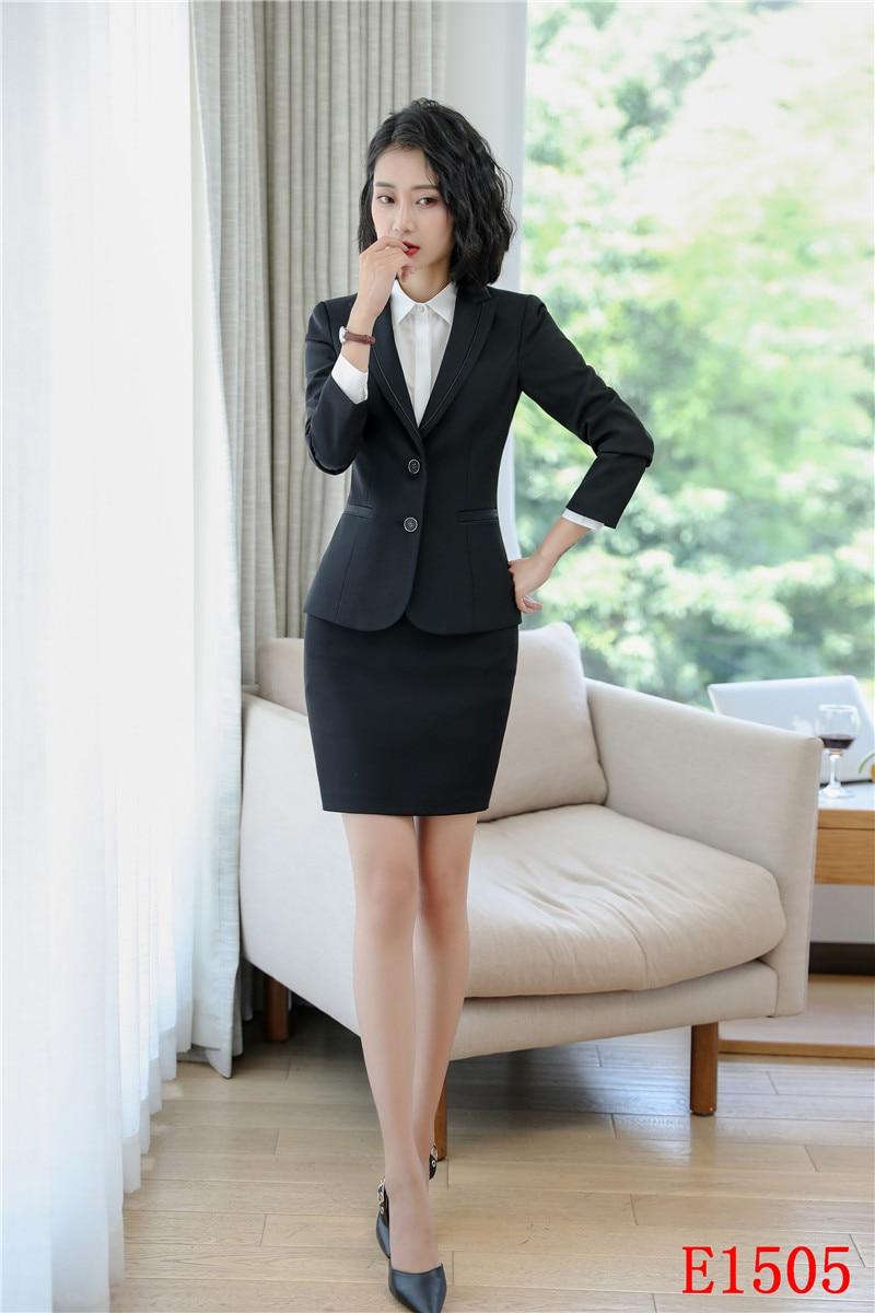 840529f66386 Affari Con Signore Vestiti Formali Imposta Del Esterno Blazer Set Di Giacca  Vestito 2019 Lavoro Estate Giacche Delle Nero Eleganti Gonna ...