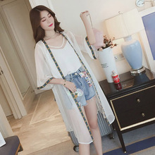 2019 Summer Chiffon Blouse Cardigan Sun Protection Clothing Long Beach Female Fashion Half Sleeve Womens Tops and Blouses