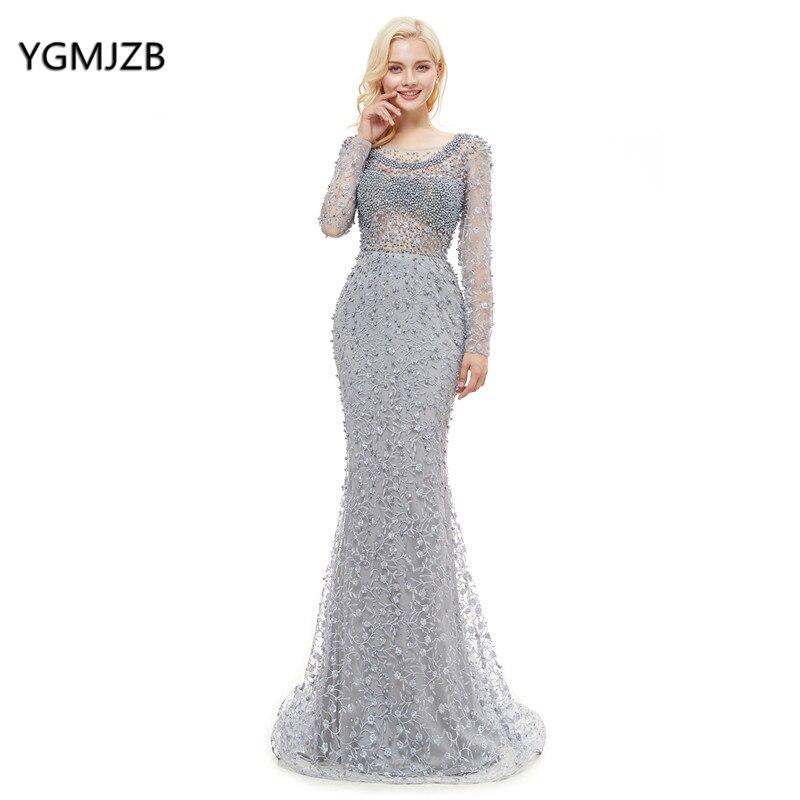 Robe de soirée 2018 luxe dentelle robe de soirée sirène manches longues Appliques perles argent formel bal robe de soirée abendkleider