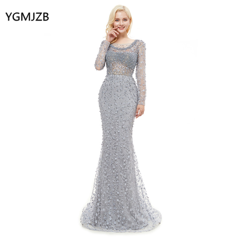 robe de soiree 2018 Luxury Lace   Evening     Dress   Mermaid Long Sleeves Appliques Pearls Silver Formal Prom   Evening   Gown abendkleider