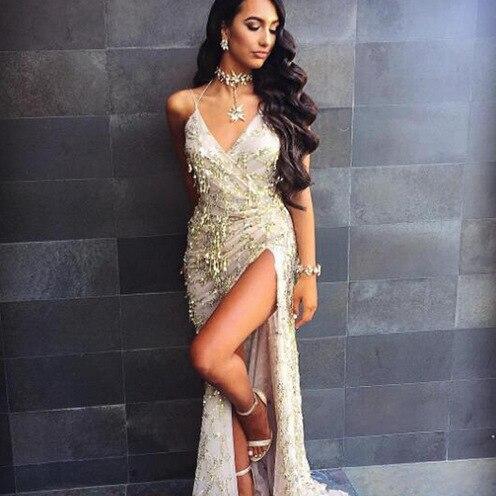 2019 Europäischen Und Amerikanischen Neue Schwarz Gold Frauen V-ausschnitt Sexy Halter Strap Pailletten Kleid Kleid Wischt Kleid + Anzug