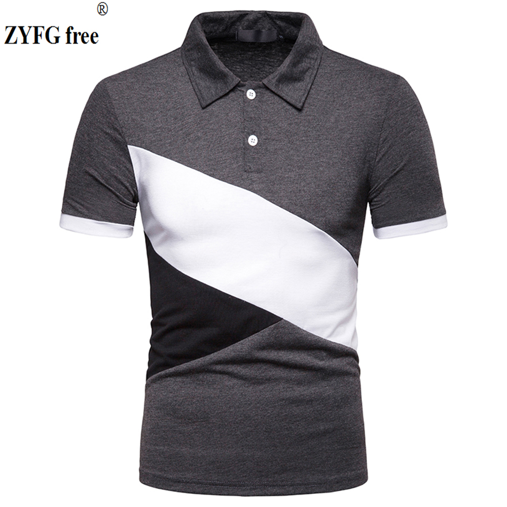 New popular men short sleeved polo blouse stitching cotton polyester blended polo shirt casual male polo shirt in Polo from Men 39 s Clothing