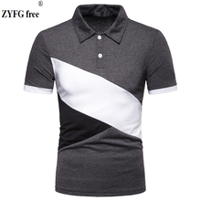 New popular men short-sleeved polo blouse stitching cotton polyester blended shirt casual male