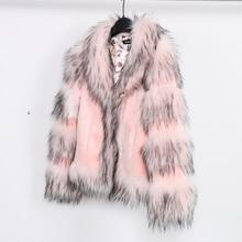 Women long-sleeve slim fox fur jacket