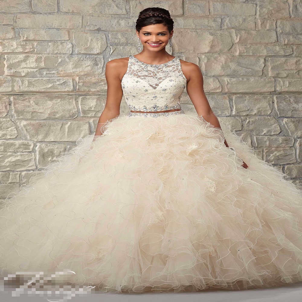 Beaded Cheap Organza Beach Wedding Dresses China Ball Gown: Beige 2 Beaded Two Pieces Quinceanera Dresses Cheap 2017