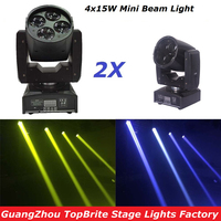 2Pcs Lot CREE 60W Led Moving Head Spot Effect Light 4x15W Super Beam Wash Mini Lighting
