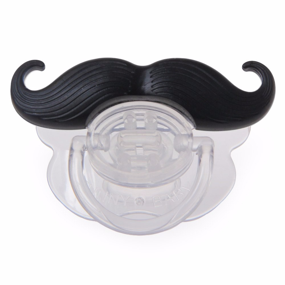 Top Silicone NewbornFunny Mustache Design Baby Nipple Dummy Baby Soother Joke Prank Toddler Baby Pacifier Clips Feeding Care