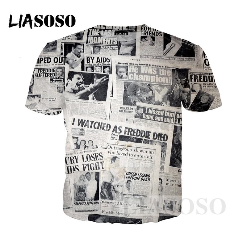 LIASOSO NEW Style Fashion Newspaper Key words Cartoon Tee Shirts 3D Print T shirt/Hoodie/Sweatshirt Unisex Good Quality Top G940