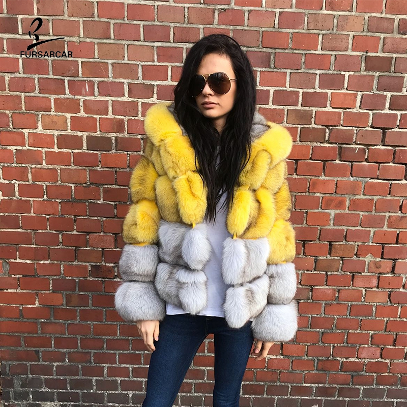 FURSARCAR 2019 New Women's Winther Gray Real Blue Fox Fur Jacket With Hood Female Thicken Warm Genuine Natural Fur Coats Luxury