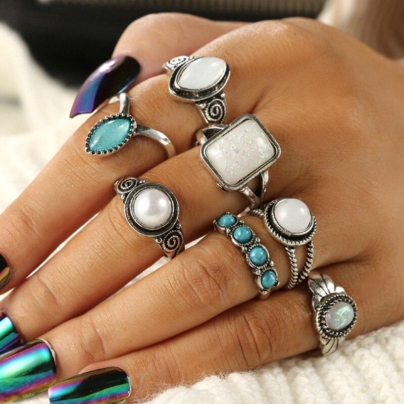 JAVRICK Ring-Set Knuckle Turquoises Opals Silver Midi Antique Jewelry Women Bohemia 7PCS