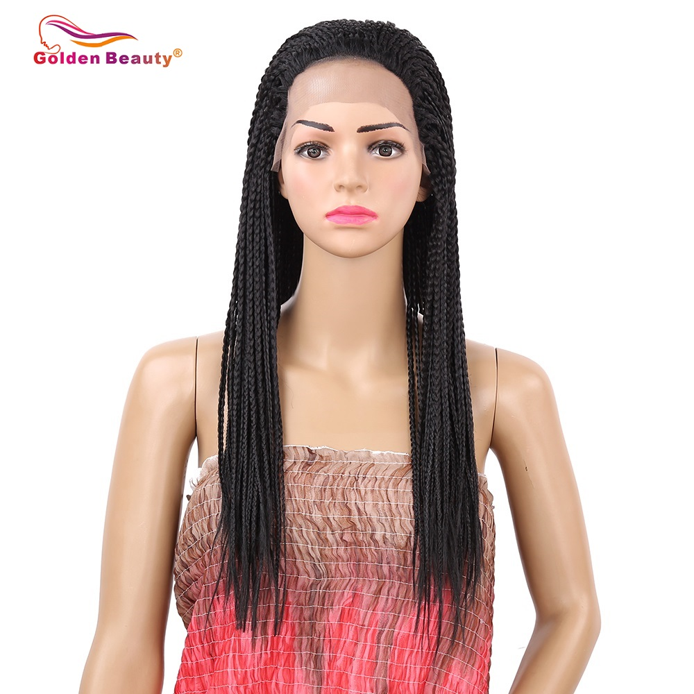 18 22inch Black Box Braid Wig Heat Resisant Synthetic Braided Lace Front Wig for Women Golden