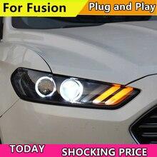 Auto Testa Della Lampada Per Ford Mondeo Per Fusion 2013 2014 2015 Fari A LED di fusione Del Faro DRL Doppio Fascio Lente Bi  Xenon HID Anteriore