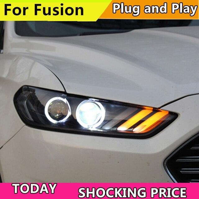 รถสำหรับ Ford Mondeo สำหรับ FUSION 2013 2014 2015 ไฟหน้า LED FUSION ไฟหน้า DRL DOUBLE BEAM เลนส์ Bi  Xenon HID