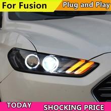 자동차 헤드 램프 Ford Mondeo For Fusion 2013 2014 2015 헤드 라이트 LED 퓨전 헤드 라이트 DRL 더블 빔 렌즈 Bi Xenon HID Front