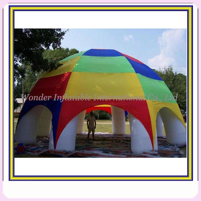 Najbolj priljubljena mavrična barva napihljivi šotor velik zunanji napihljivi travnik prireditev šotor velikanski šotor napihljiv 8 nog z ventilatorjem