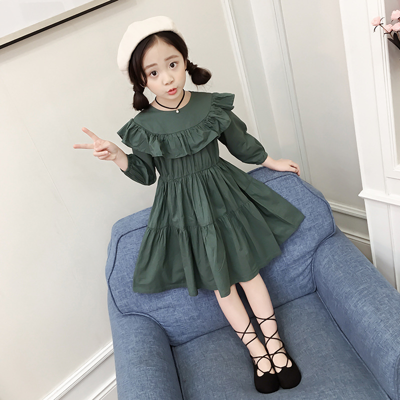 New 2018 Girls Clothing Dresses Autumn&Spring England Style Children Princess Dresses Kids Children Clothes hurave new arrival girls tassel sweater children fashion kids clothing brand england style toddler clothes