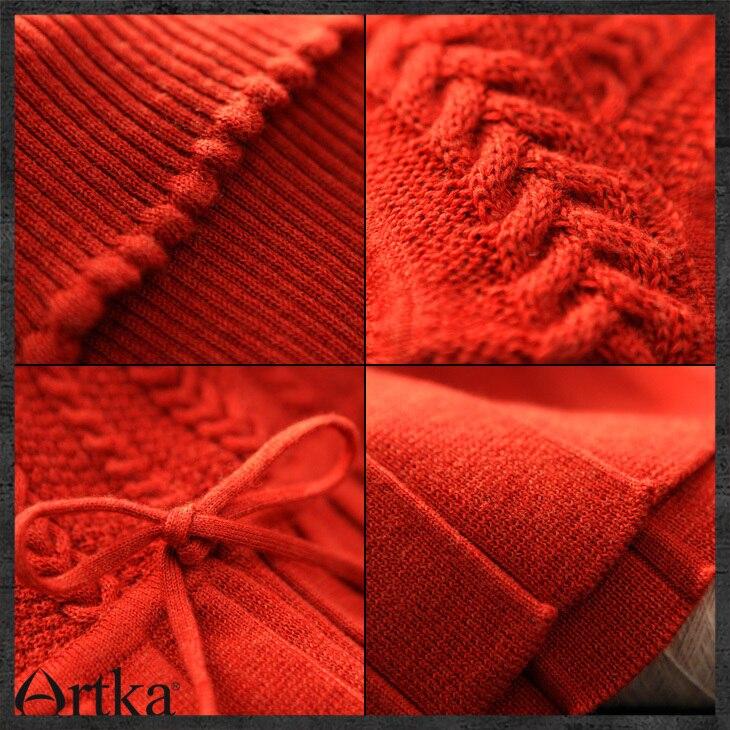Black Pieghettato Artka 3 carbon Tridimensionali Solido dark Pezzo Mercerizzazione Sottile Inverno Un Delle Vestito Green Di Fiori Patchwork Orange Lana Donne Yb12628d 1rpBq1
