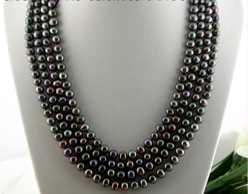 """LIVRAISON gratuite>>>> z1638 Long 100 """"9mm rond noir perle d'eau douce collier nouveau"""