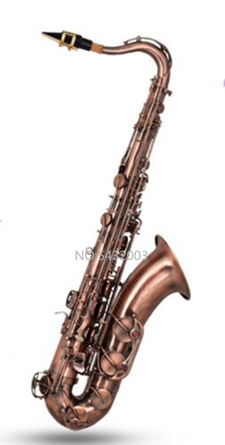 Profesional marca Francia B flat saxofón tenor instrumentos musicales saxo Abalone Shell clave tallar patrón caso guantes