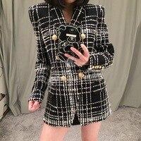 2018 Spring Women Good Quality Runway Tweed Jacket Famale Metal Buttons Plaid Wool Blazer Vinatge Outwear