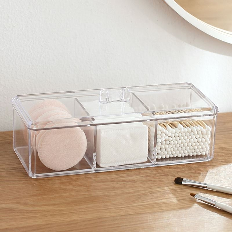 Transparente claro acrílico organizador titular hisopo de algodón de maquillaje, caja de almacenamiento de escritorio organizador de joyas caso para cosméticos