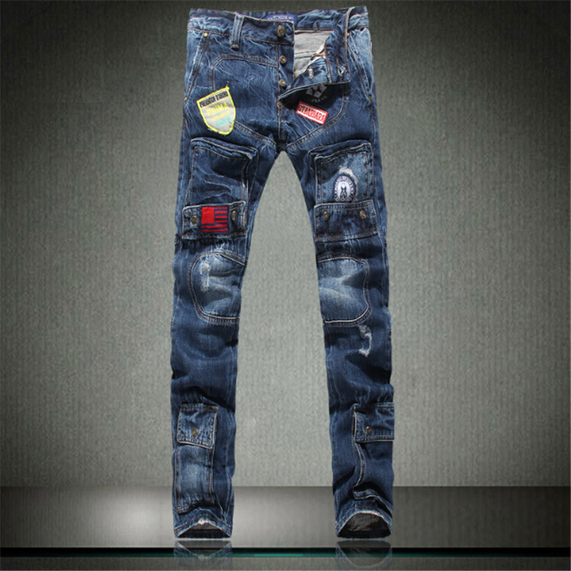 2017 New Arrival Man Jeans High Quality Denim Pants Cotton broken hole Brand Design Populat Jeans For Men Boy Big size 40 2016 high quality mens jeans blue color printed jeans for men ripped button jeans casual pants quality cotton denim jeans