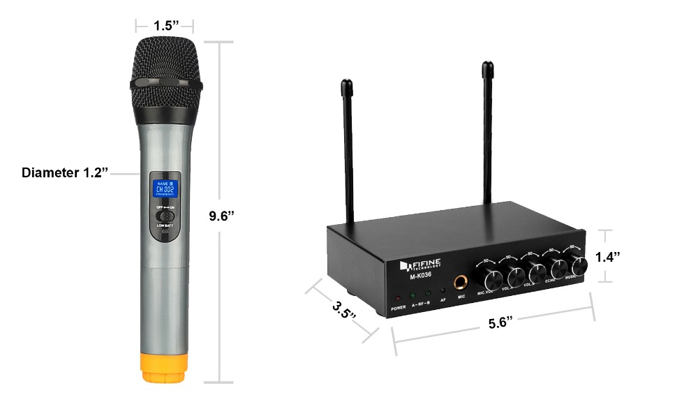 Image 5 - Fifine UHF Dual Channel Wireless Handheld Microphone, Easy to use Karaoke Wireless Microphone System K036-in Microphones from Consumer Electronics