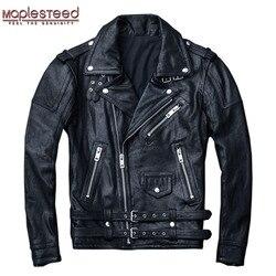 MAPLESTEED 100% Natürliche Schaffell Gegerbtem Leder Jacke Schwarz Weichen männer Motorrad Jacken Motor Kleidung Biker Mantel Herbst M111