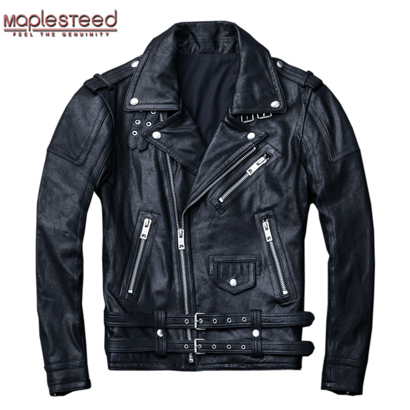 MAPLESTEED 100% Natural Sheepskin Tanned Leather Jacket Black Soft Men's Motocycle Jackets Motor Clothing Biker Coat Autumn M111