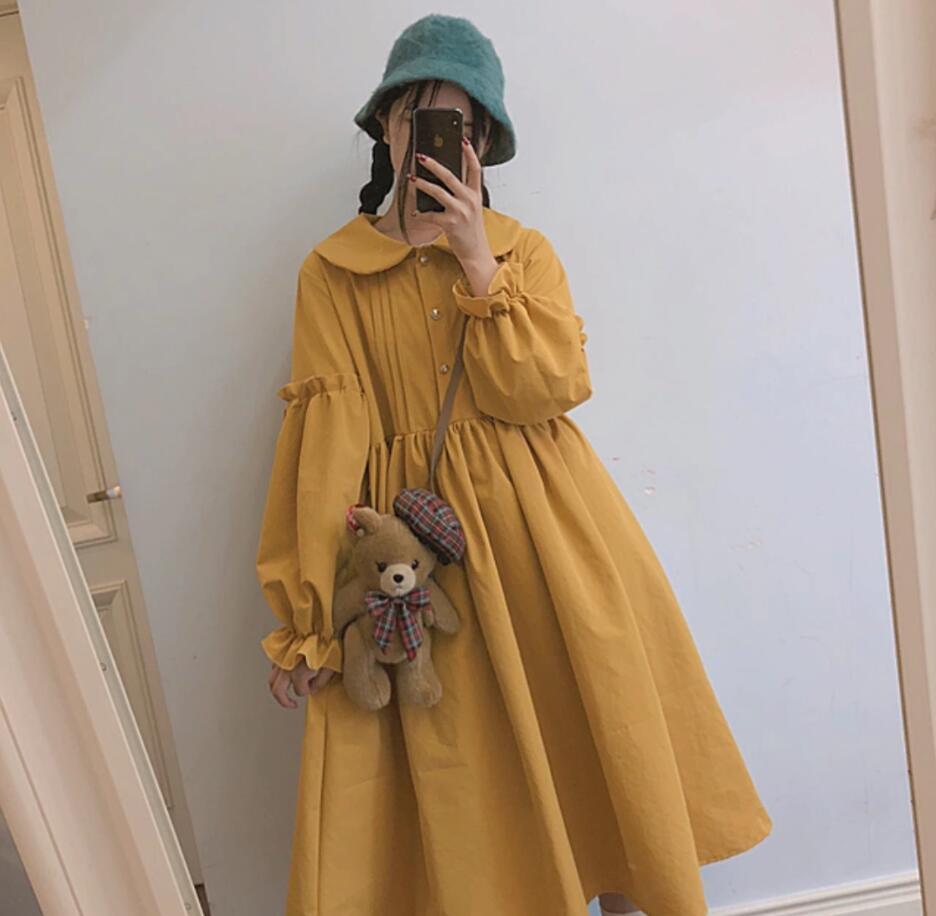Kawaii Girl Lolita Dress Retro Peter Pan Collar Puff Sleeve Victorian Dress Lovely Sweet Lolita Cos Loli Op Gothic Lolita Loose