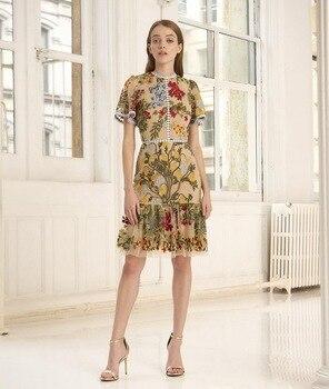 High quality embroidery mesh dress women summer short sleeves dress A161