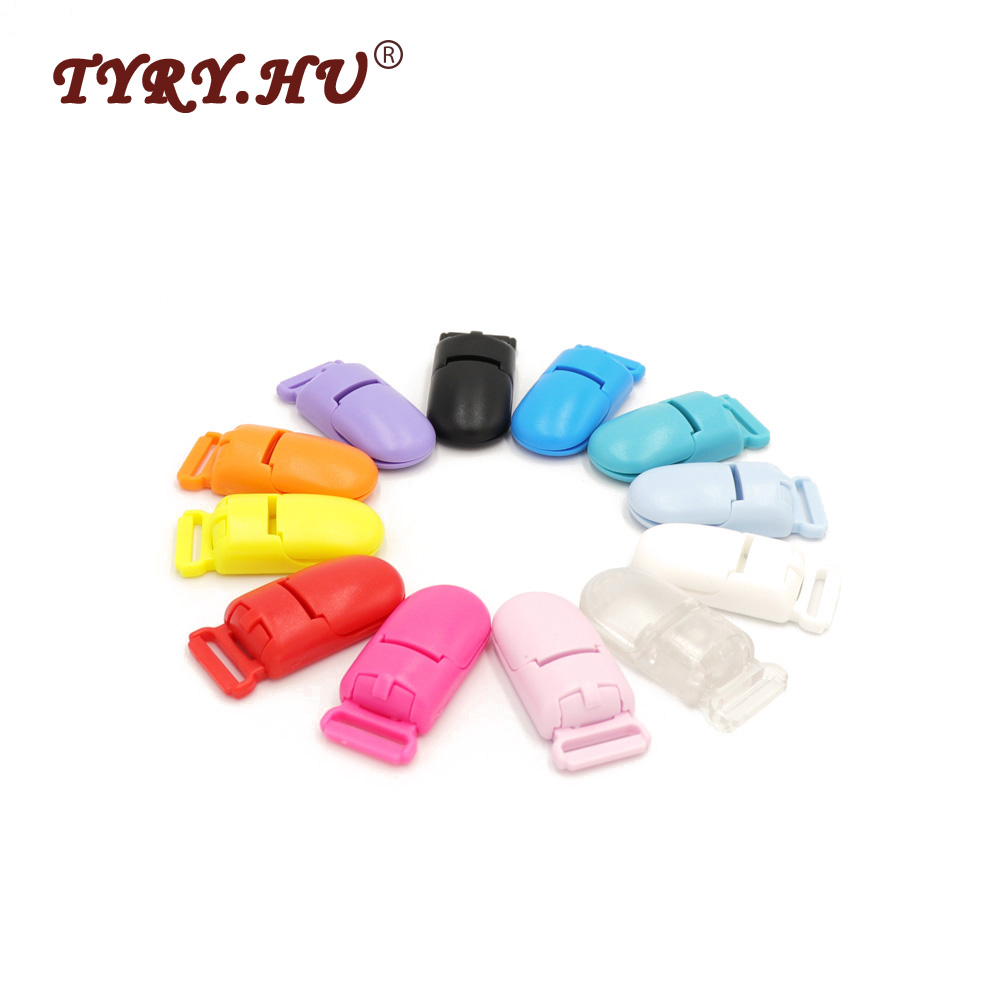 TYRY.HU 20Pcs Multicolor Round Head Pacifier Clip Holder Baby Dummy Soother Suspender Toddler DIY Pacifier Chain Accessories