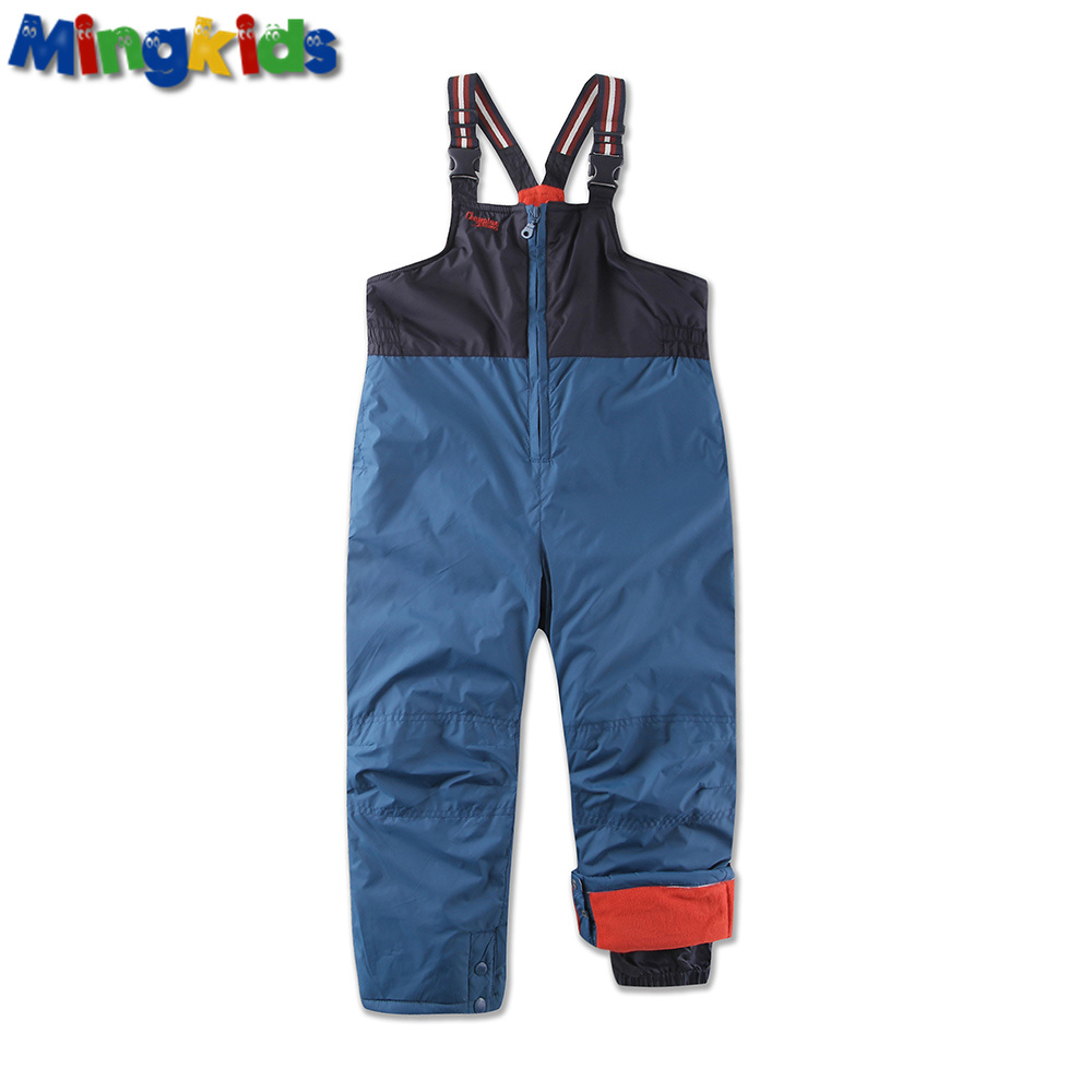 Russian mingkids European Size Snow Pants for boy Waterproof Windproof Ski pants fleece lining thermal trousers Insulated