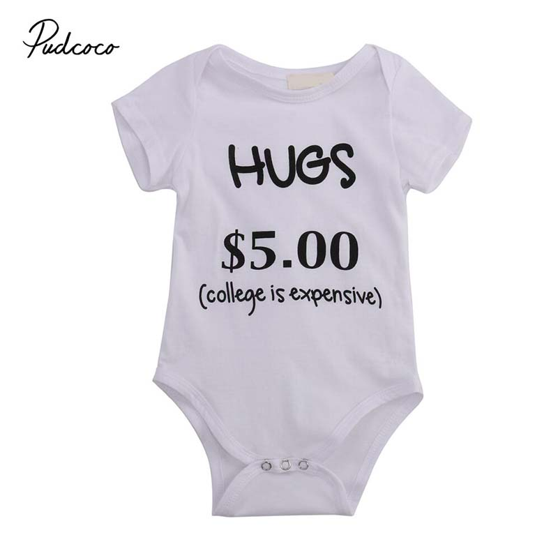 Baby Cotton Bodysuits Humorous Letter Infant New Born Outfits 0-24M Clothing New