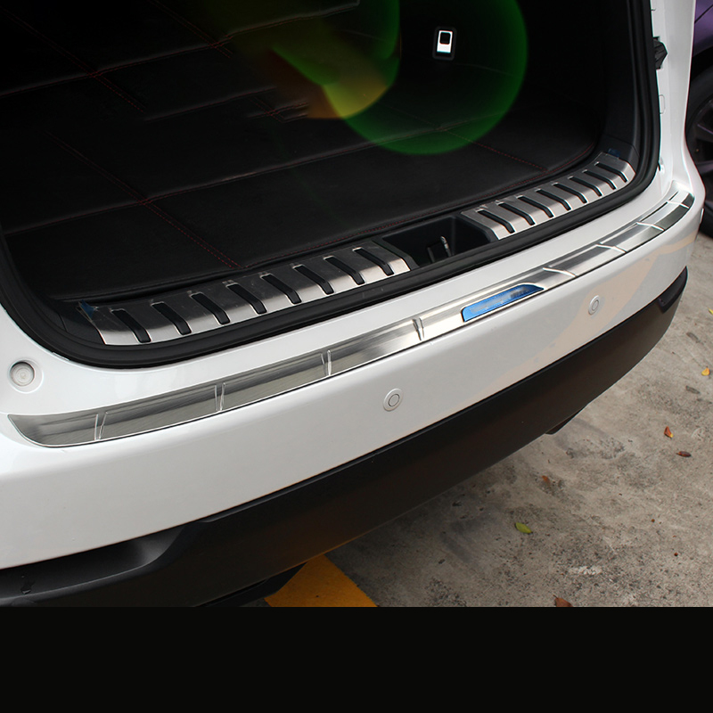 topfit Model 3 Front Rear Trunk Bumper Protector Lid Trunk Guard Cover Inner Stainless Steel Chrome Trim Insert Anti-Scratch Protectors for Model 3 Silver