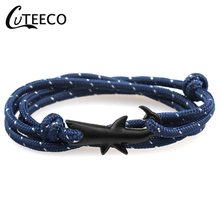 CUTEECO Bracelet Men Shark Anchor Bracelets Charm Chain Rope Women Bracelet Anchor Hooks Jewelry Male Wrap Anchor bracelet vintage cross anchor sweater chain for women