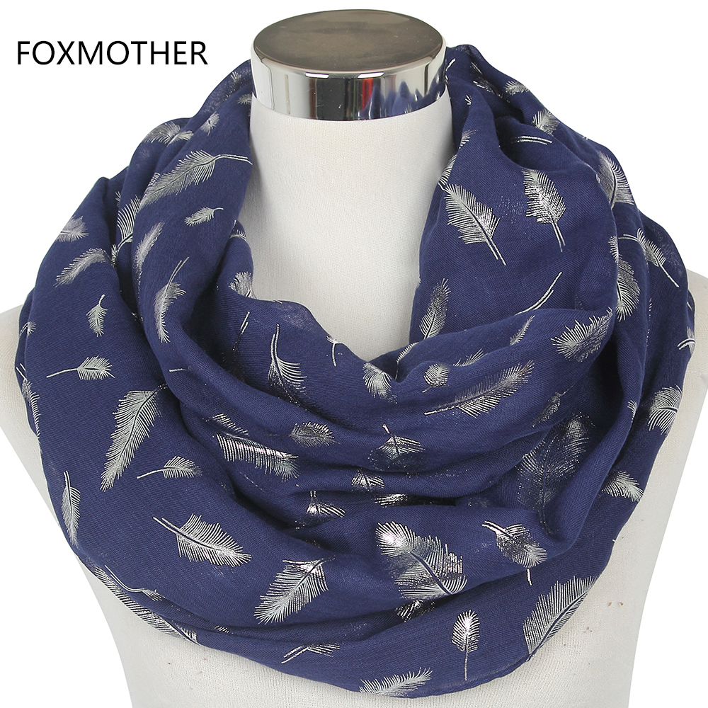 FOXMOTHER envío gratis moda mujer blanco amarillo azul marino bronceado de pluma de plata anillo bufandas bufanda de cuello brillo Foulard