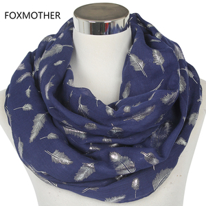 FOXMOTHER Free Shipping Fashion Womens White Navy Yellow Bronzing Foil Silver Feather Ring Scarves Neck Scarf Glitter Foulard
