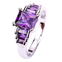 2015 New Fashion Emerald Cut Amethyst 925 Silver Ring Size 6 7 8 9 10 Vogue Elegant Jewelry Gift  For Women