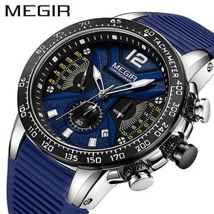 Image 1 - Relogio Masculino MEGIR Men Watches Silicone Sport Chronograph Quartz Military Watch Luxury Brand Zegarek Meski Erkek Kol Saati
