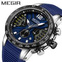 Relogio Masculino MEGIR hommes montres Silicone Sport chronographe Quartz montre militaire marque de luxe Zegarek Meski Erkek Kol Saati