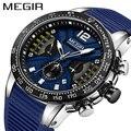 Reloj Masculino MEGIR reloj deportivo de silicona reloj militar de cuarzo marca de lujo Zegarek Meski Erkek Kol Saati