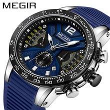 レロジオ masculino megir 男性腕時計シリコーンスポーツクロノグラフクォーツ軍用時計の高級ブランド zegarek meski erkek kol saati