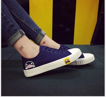 Spring Autumn New Women Fashion Top Canvas Shoes cartoon duck low to help students with Lace-Up leisure cloth shoes