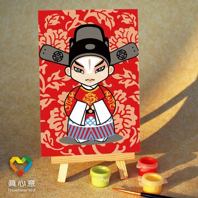 Diy digital oil painting beijing opera mask mini painting - 10 15 belt easel