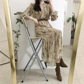 BGTEEVER Elegant V-neck Floral Printed Women Dress Flare Sleeve A-line Female Chiffon Dress 2019 Vintage Women Midi Vestidos 2
