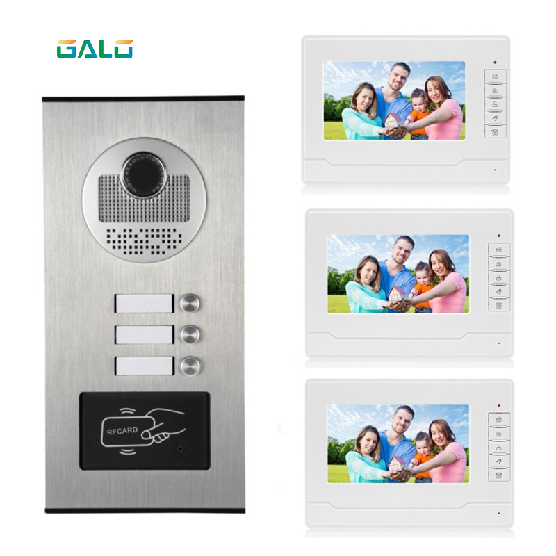 3 Buttons Apartments Video Intercom Multi Apartment Building Video Doorbell With RFID Keyfob
