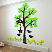Flowers and Tree Pattern 3D Acrylic Stickers DIY Wall Sticker Living Room Hallway Decorations
